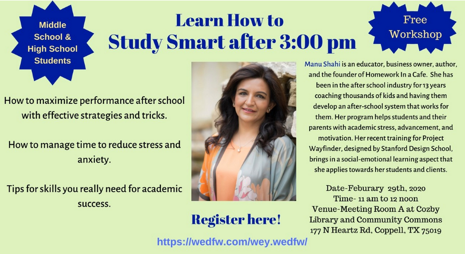Study Smart after 3pm: Feb 29 11am-12pm Cozby Library